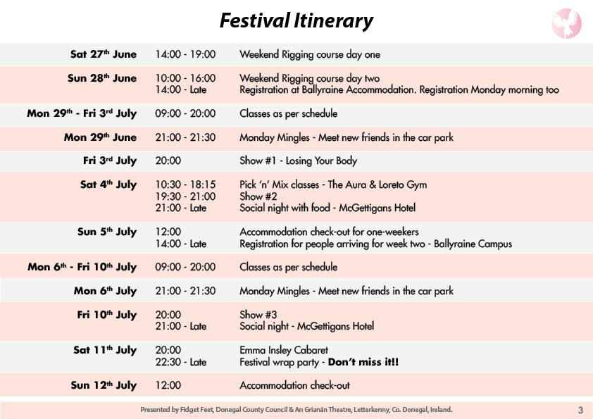 Festival Itinerary