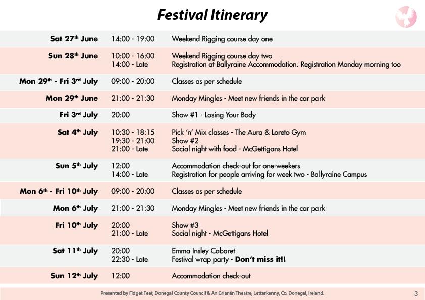 Festival Itinerary